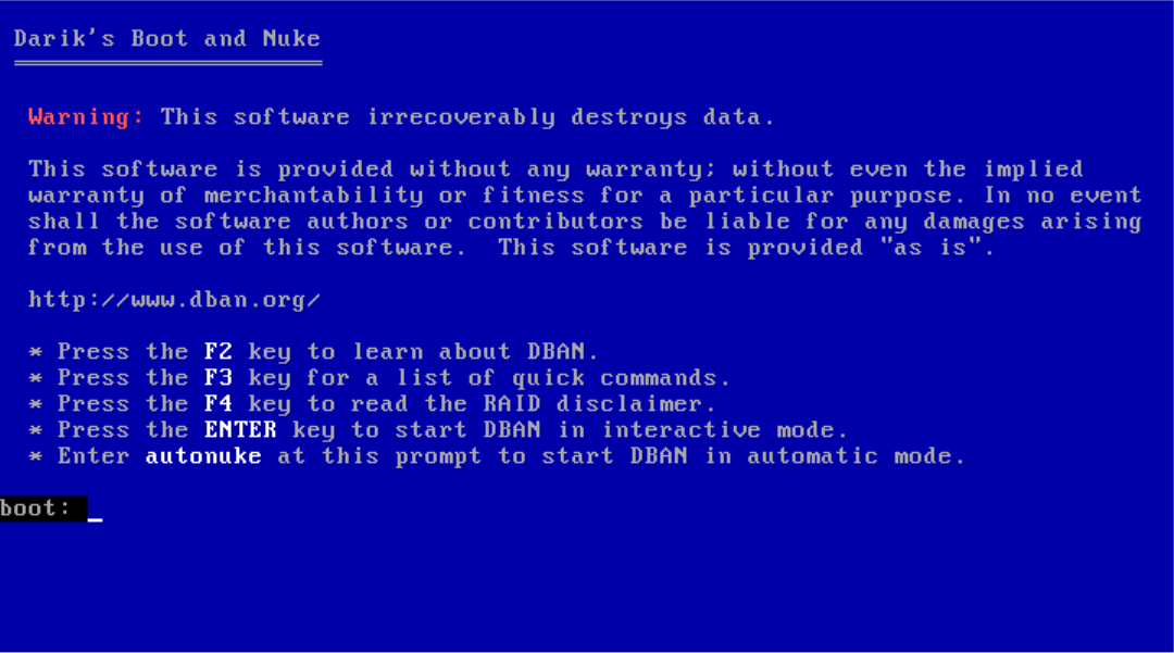 Screenshot of the screen that should appear when the computer has booted from the DBAN CD.