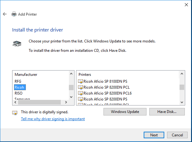 After the Windows update select your manufacture and driver you wish to install.