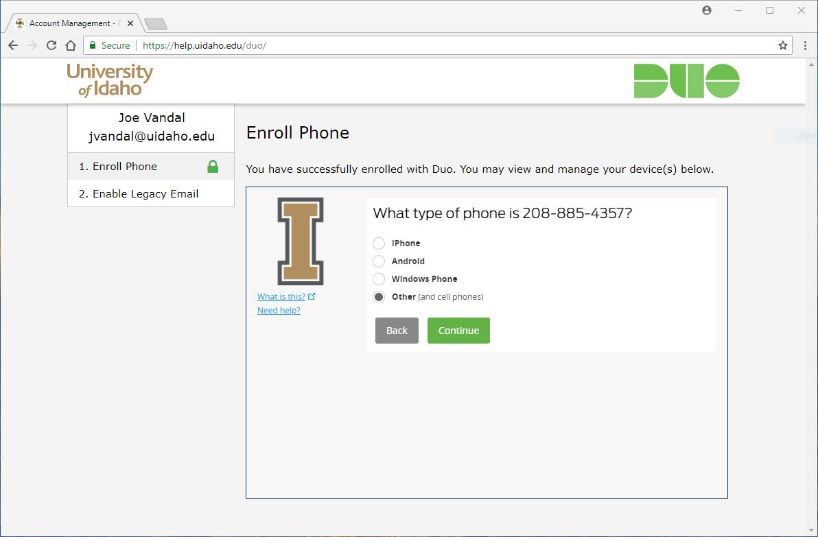Screenshot of selecting phone type