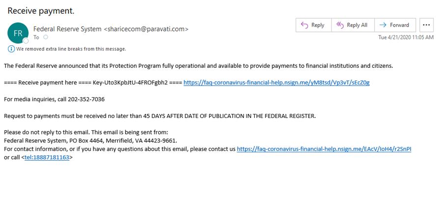 Stimulus payment phish