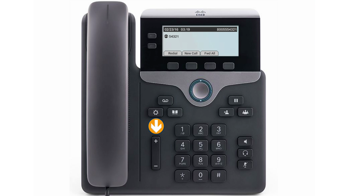 Image of the phone with the volume buttons indicated.