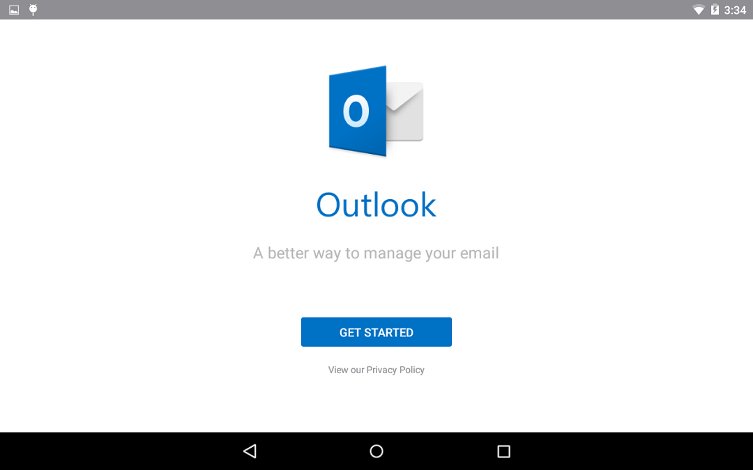 Screenshot of the Outlook application when you open it for the first time.