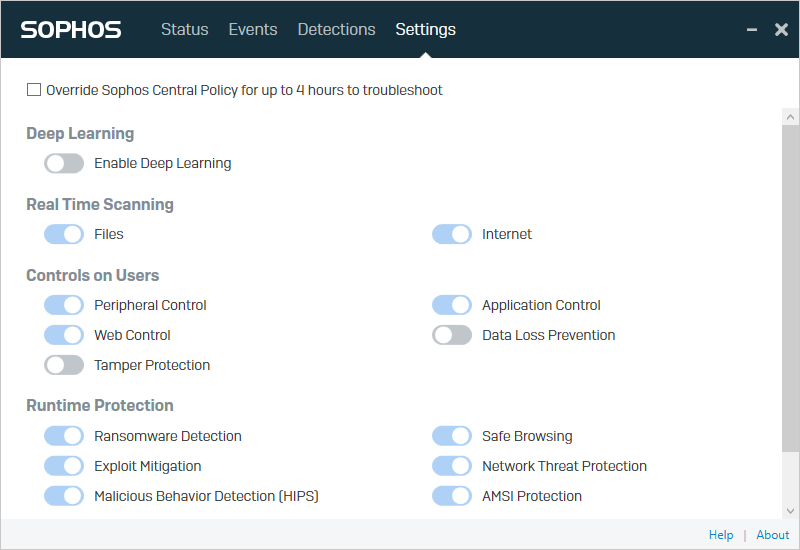 Screenshot of settings tab