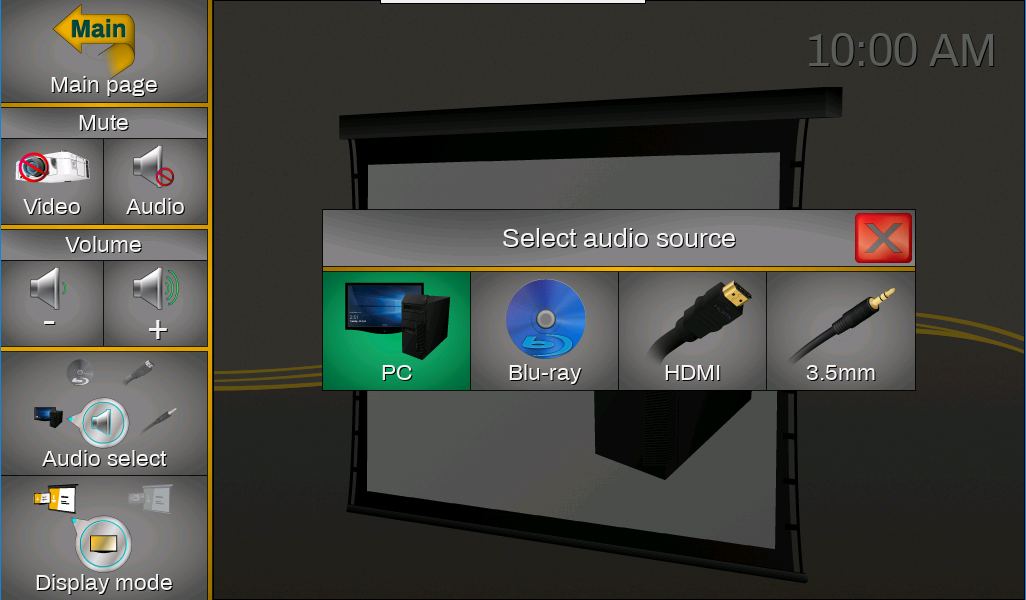Screenshot of the touch panel displaying the select audio source window.