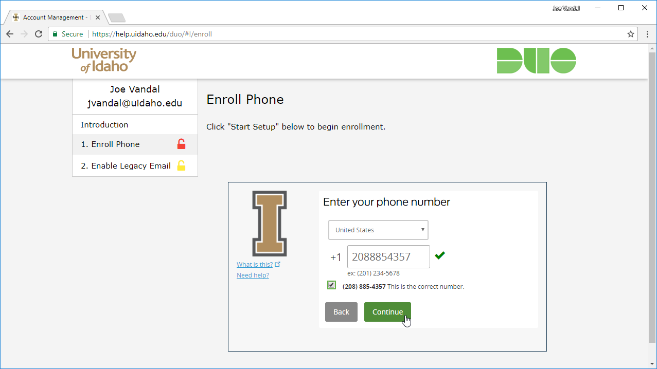 Screenshot of phone number entry screen