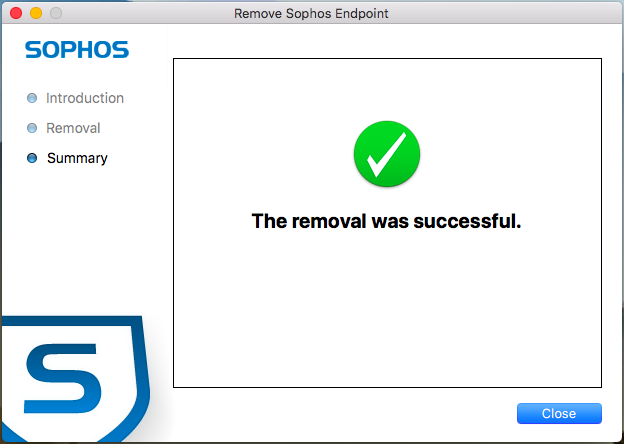 Screenshot of the Sophos uninstall completed.