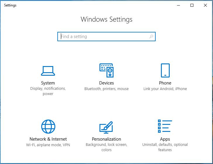 Screenshot of Windows settings