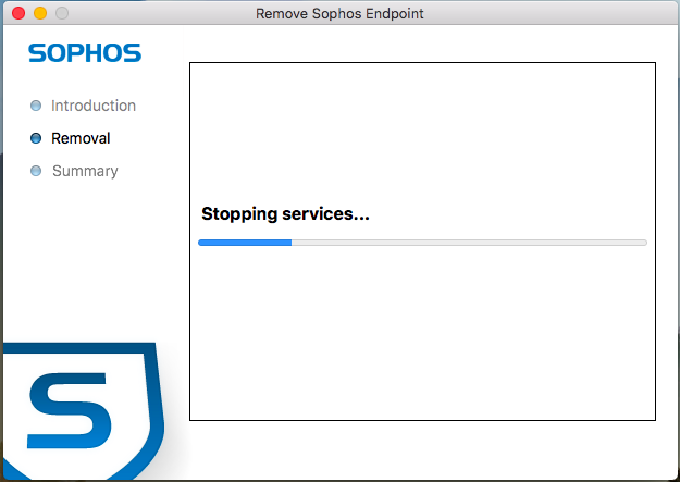 Screenshot of Sophos uninstallation in progress.