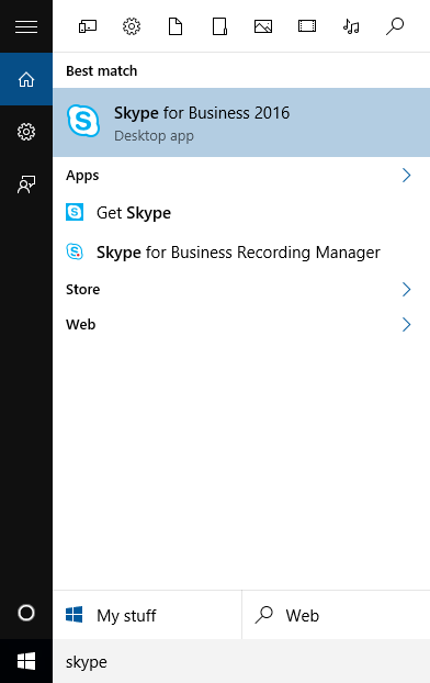 Search for Skype for Business.