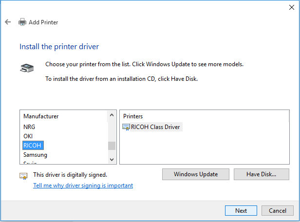 If your machine is not able to automatically detect the driver you may need to manually select this.