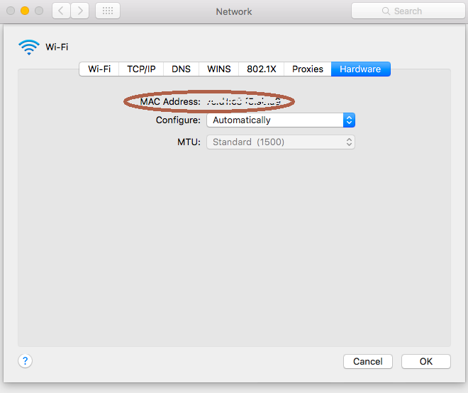 "Select the ""Hardware"" tab to view your MAC Address"