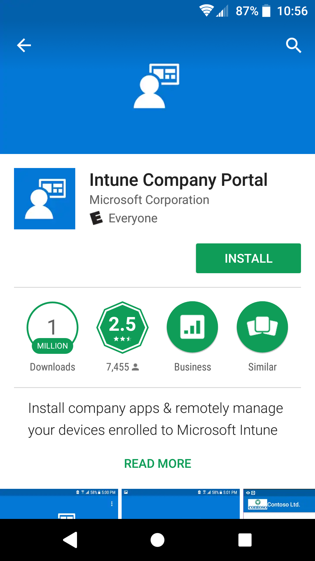 Google Play ready to tap Install for Intune Company Portal