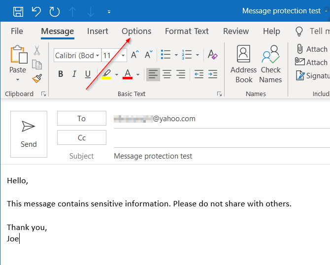 Drafting a new message in Outlook. Click Options tab