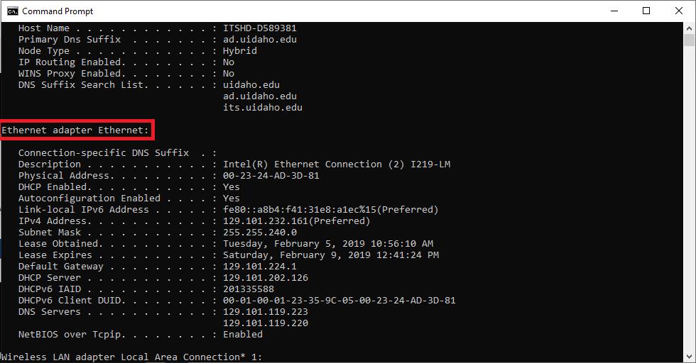 CMD Ethernet Adapter Ethernet