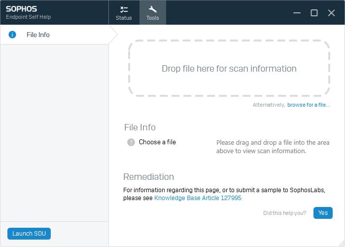 Diagnostics window, tools tab displayed