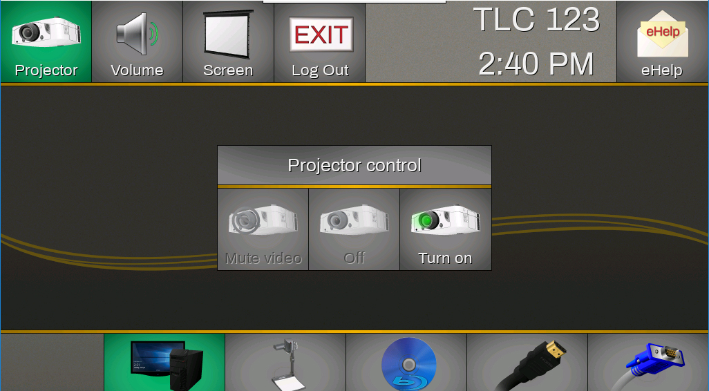 The Main touch panel page will allow navigation to all controls for the system.