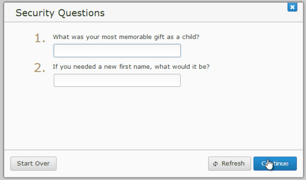 A screenshot of the security question prompts.