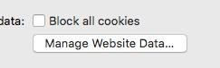 Click Manage Website Data