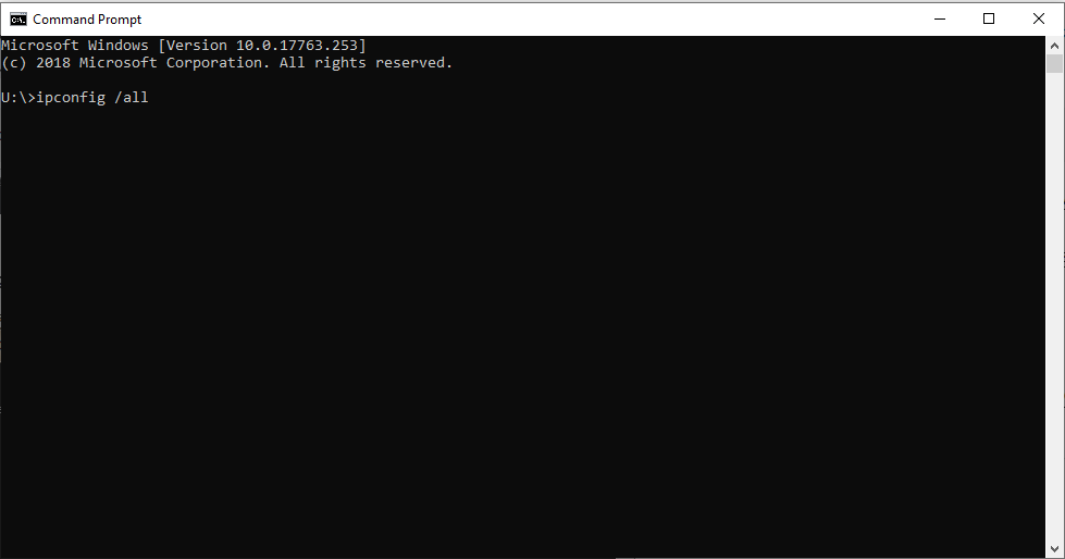 Type ipconfig /all into the command box and press enter.