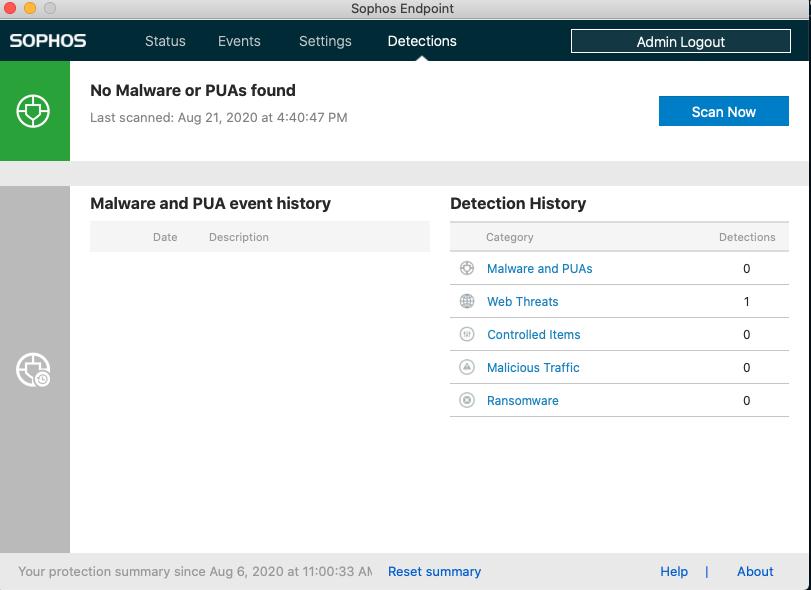 Screenshot of the Scan Info tab