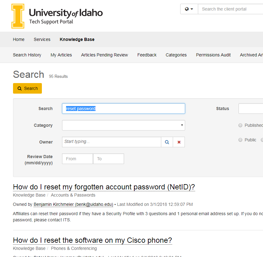 Screenshot of an example search for password reset articles in the knowledge base.