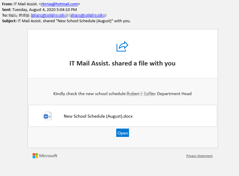 Phish pretending to offer new schedule information.