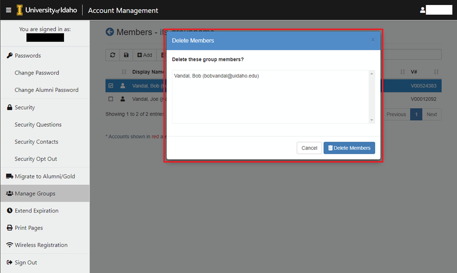 Image of the prompt asking if you want to delete the member from the group.