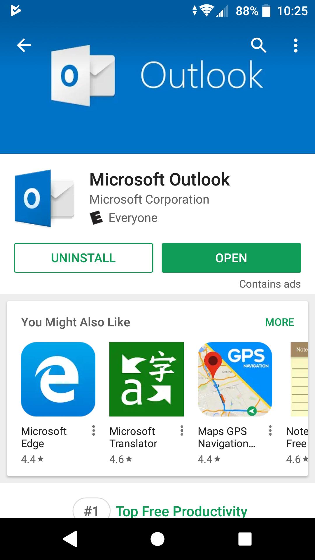 GPlay open Outlook