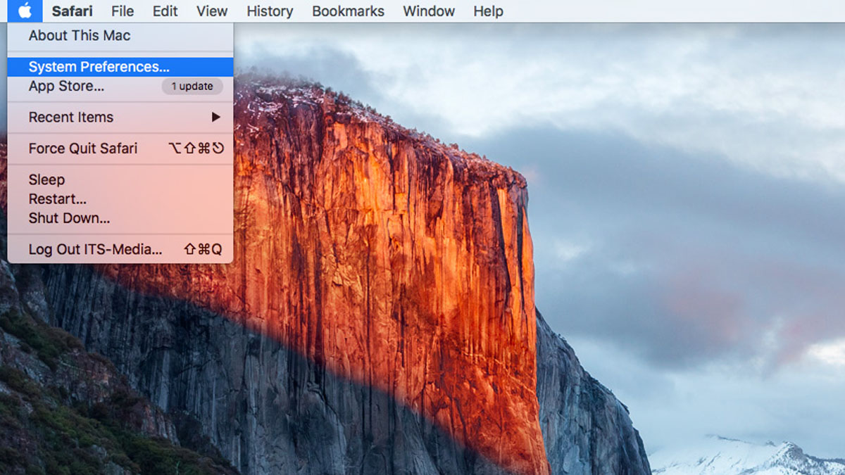 Select System Preferences from the Apple menu.