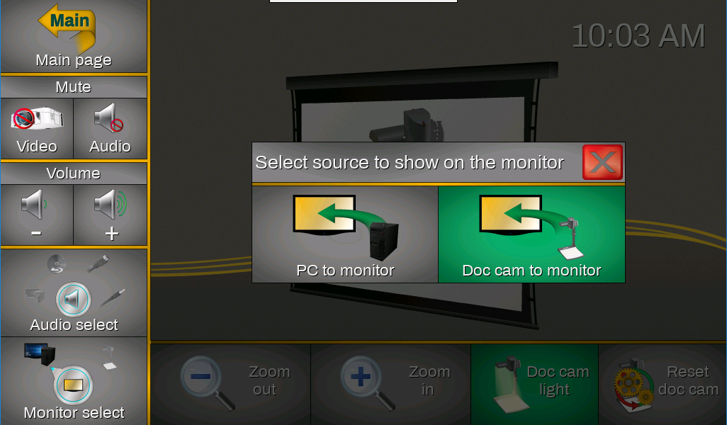 "Screenshot of the touch panel displaying the ""select source to show on the monitor"" window."