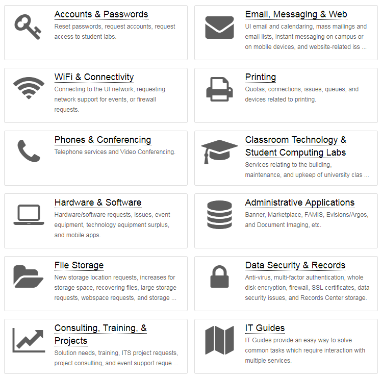 Screenshot of KB article categories