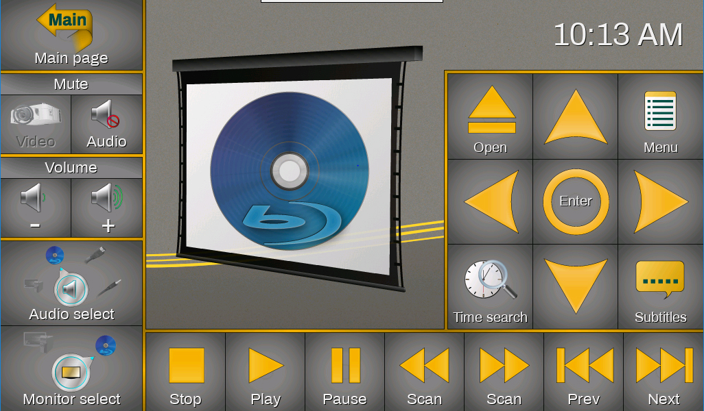Screenshot of the touch screen blu-ray controls available after a disc is inserted.