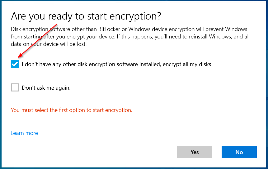 Prompt asking if any other encryption software is installed