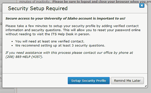 You must have a Security Profile set up before you can migrate your account.