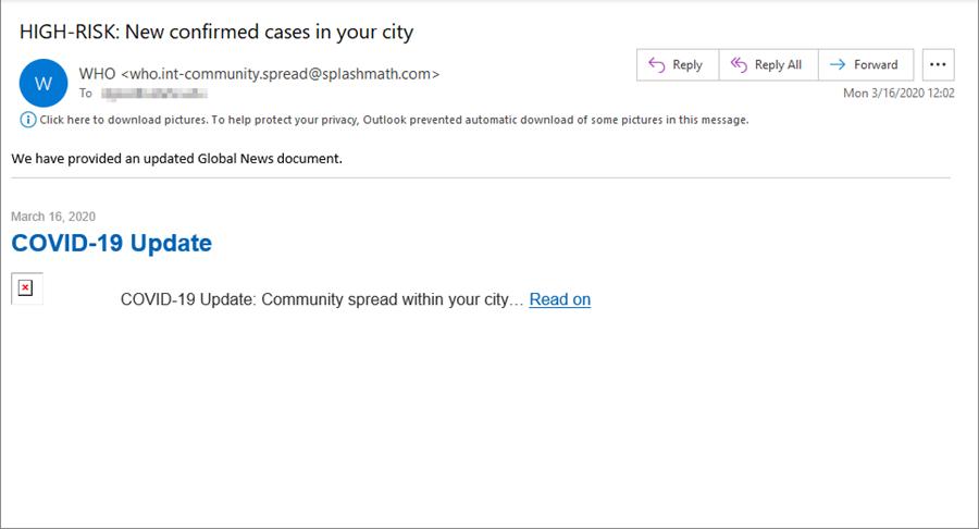 Sample phishing message with coronavirus theme