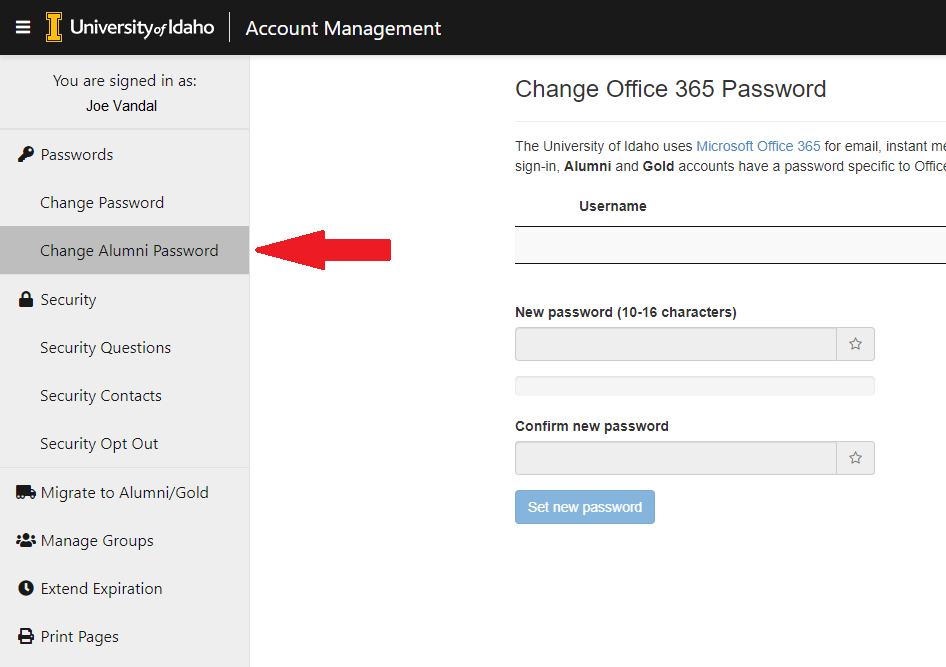 Image of Account Management Page