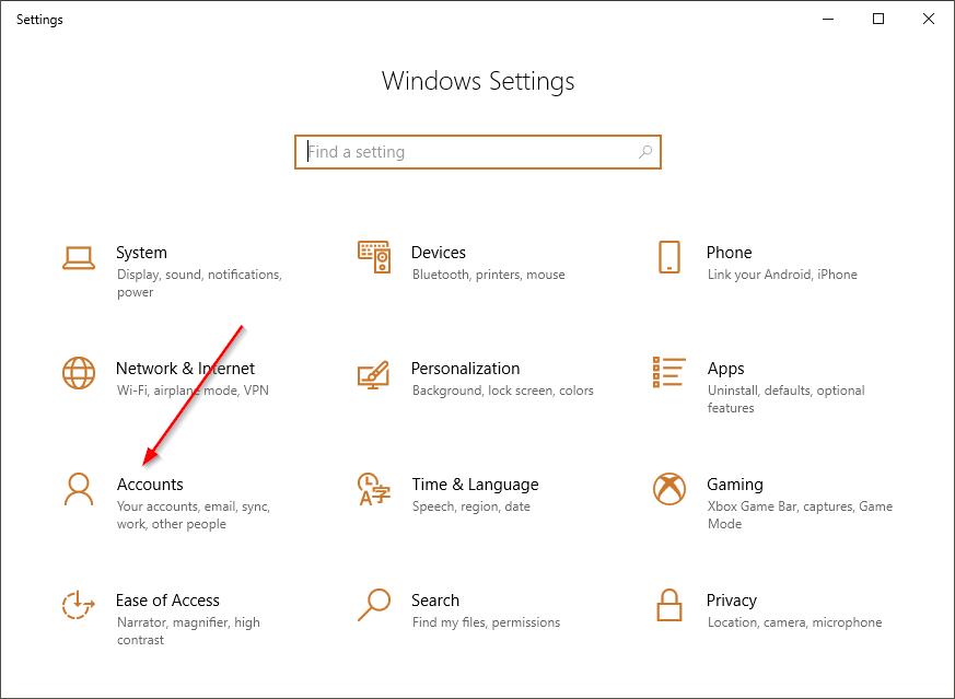 Windows settings app open