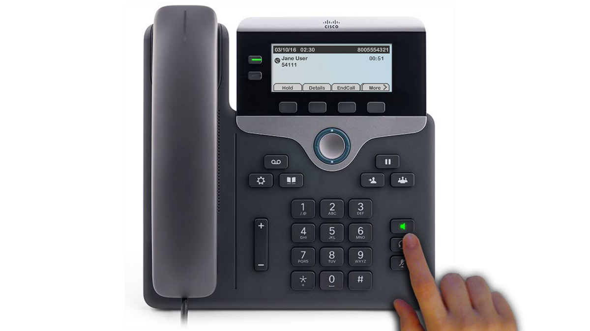 Image highlighting the speaker button, green, on the phone.