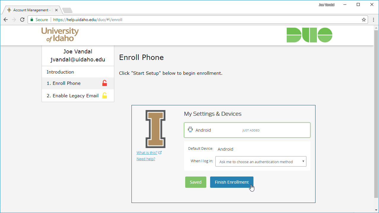 Screenshot of enrollment complete page