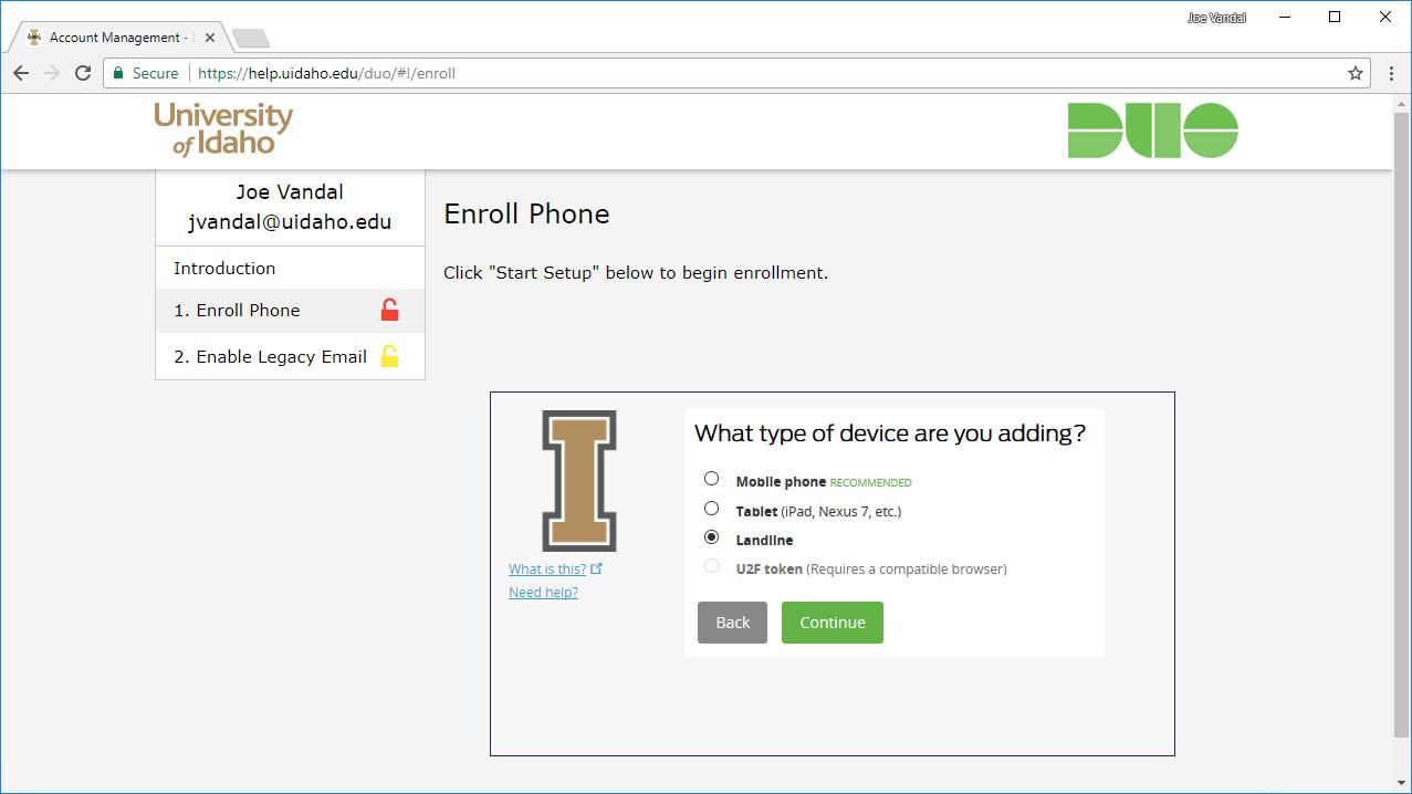Screenshot of selecting landline as the phone type