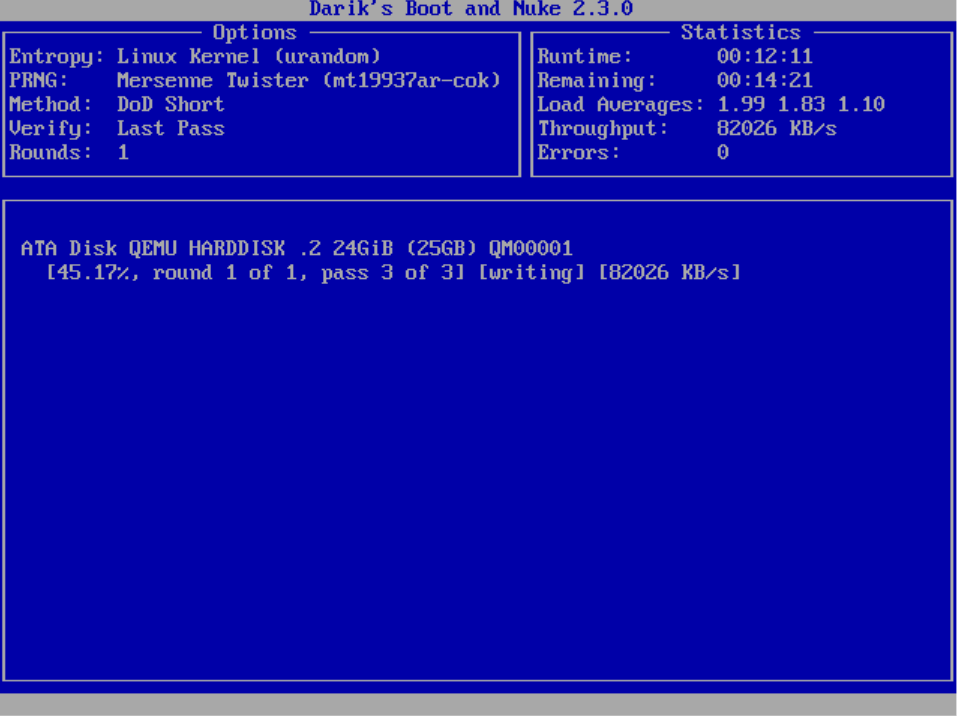 Screenshot of the automatic process running on the screen.