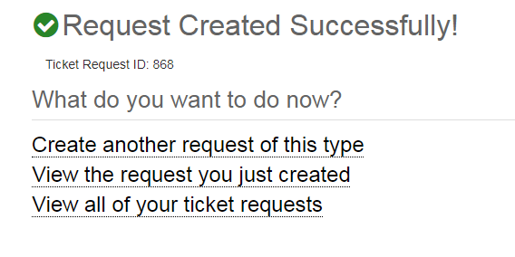 Screenshot of a Request Created success page
