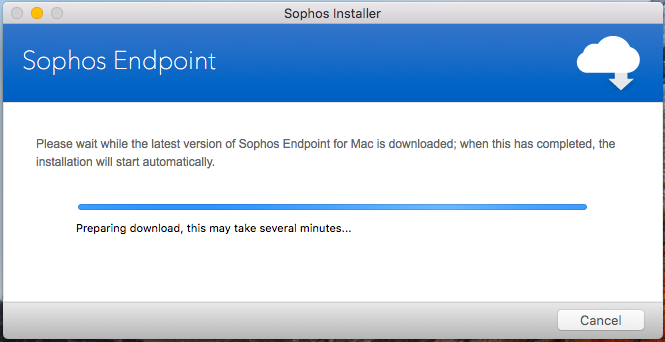 Screenshot of the Sophos install in progress.
