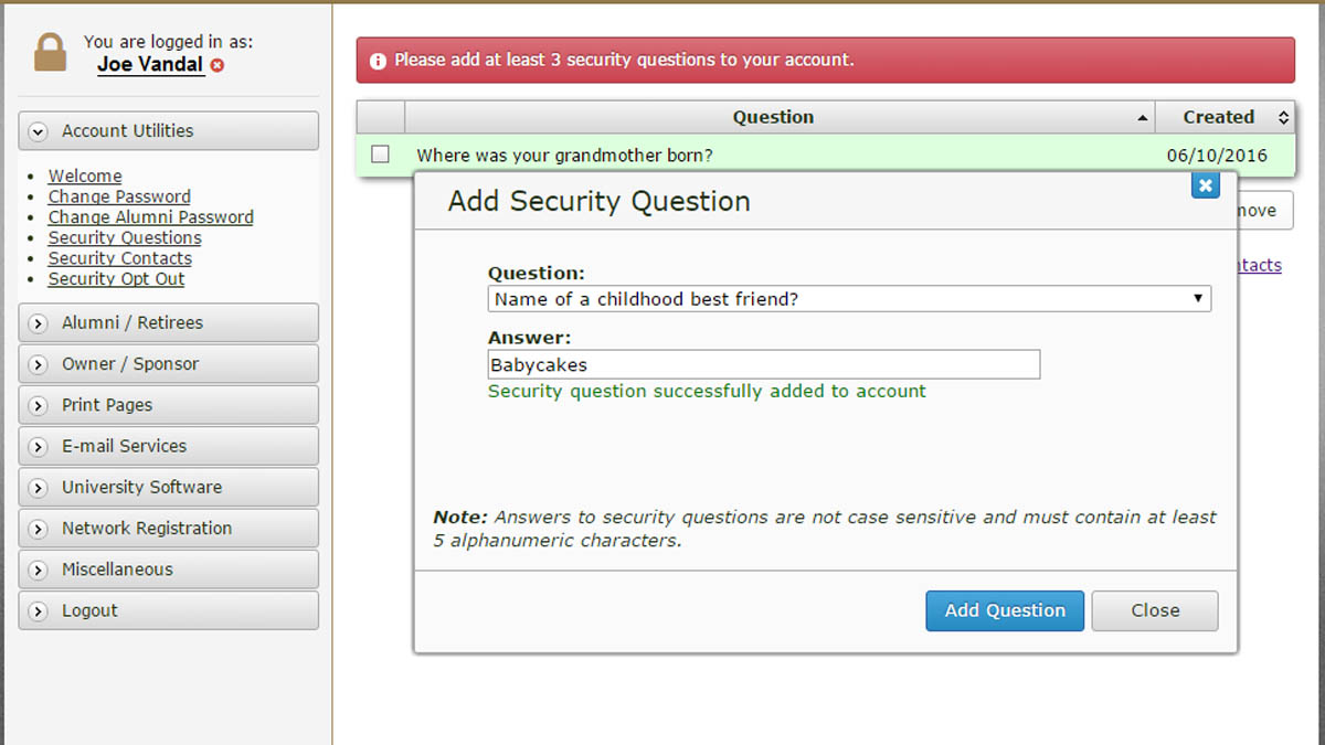 A screenshot of the prompt where you add security questions.