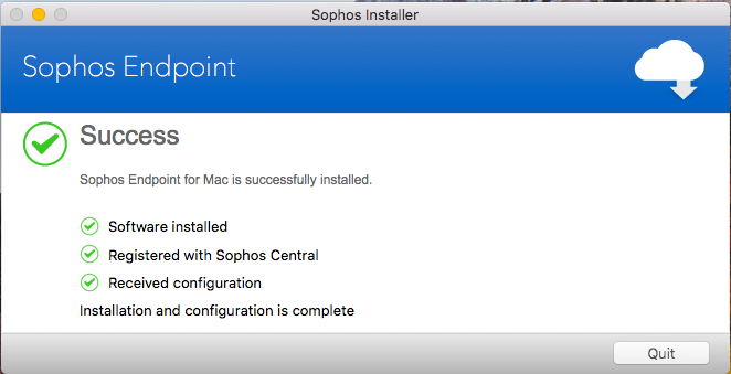 Screenshot of the completed Sophos installation.
