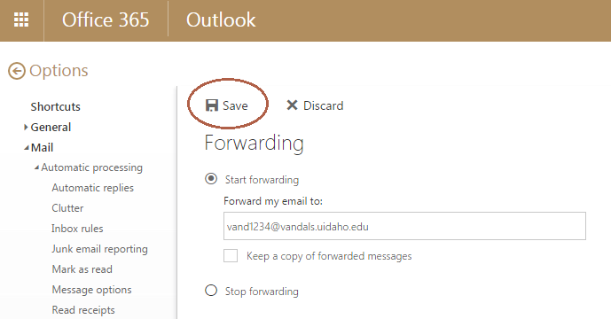 Screenshot of the Forwarding option open with the Save button circled.