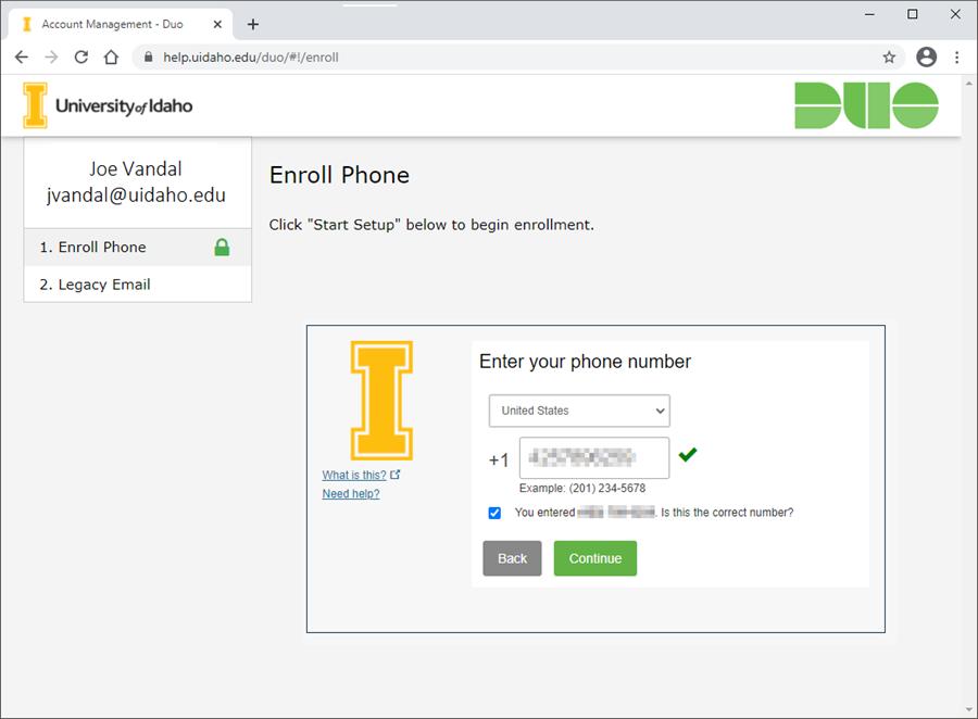 Screenshot of phone number entry screen