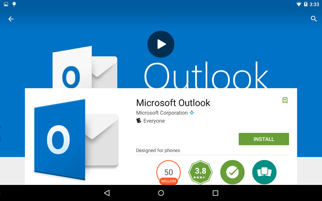 Image of the Outlook page in the Google Play store.