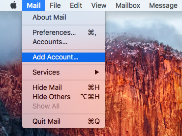 Select Add Account from the Mail menu.