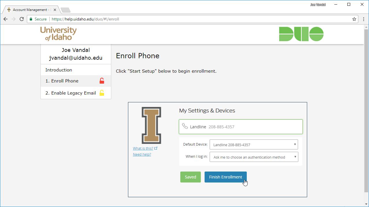 Screenshot of completed landline phone enrollment